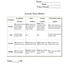 Acrostic Poem Rubric Template Download Printable PDF   Templateroller [ 1284 x 950 Pixel ]