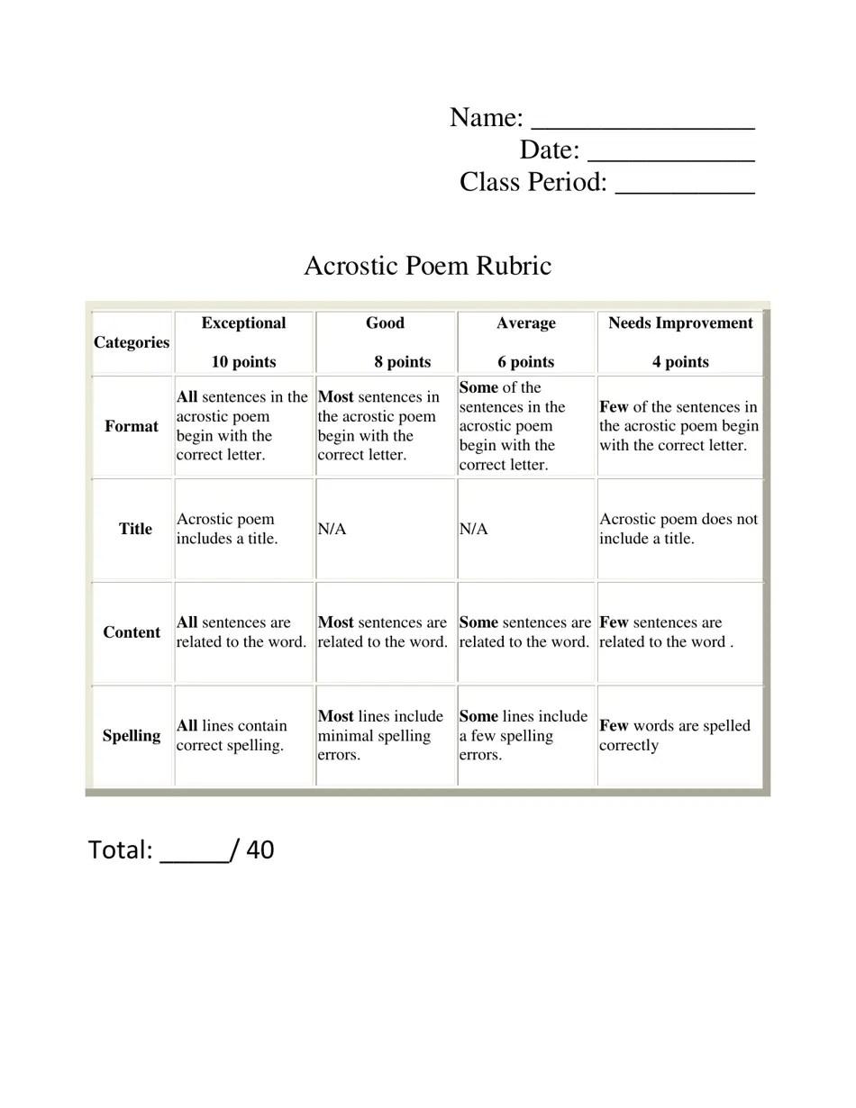 medium resolution of Acrostic Poem Rubric Template Download Printable PDF   Templateroller