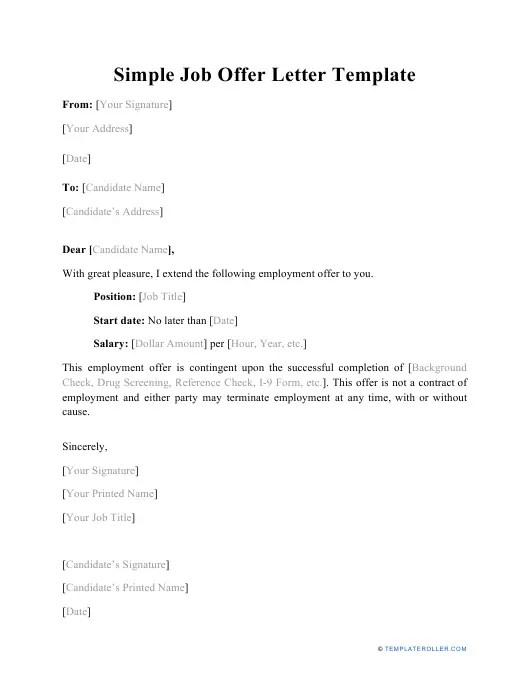 Free Job Offer Letter Templates And Samples Download Pdf Print Templateroller