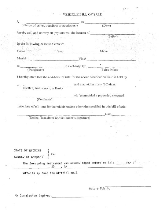 Campbell County, Wyoming Vehicle Bill of Sale Download