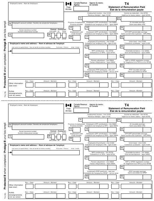 Form T4 Download Printable PDF or Fill Online Statement of ...
