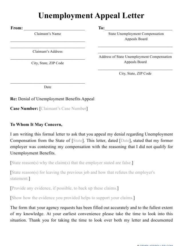 Unemployment Appeal Letter Template Download Printable PDF