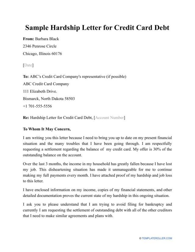 Sample Hardship Letter for Credit Card Debt Download Printable PDF