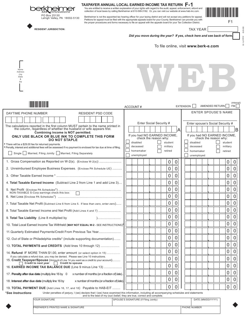 Form F-1 Download Fillable PDF or Fill Online Taxpayer
