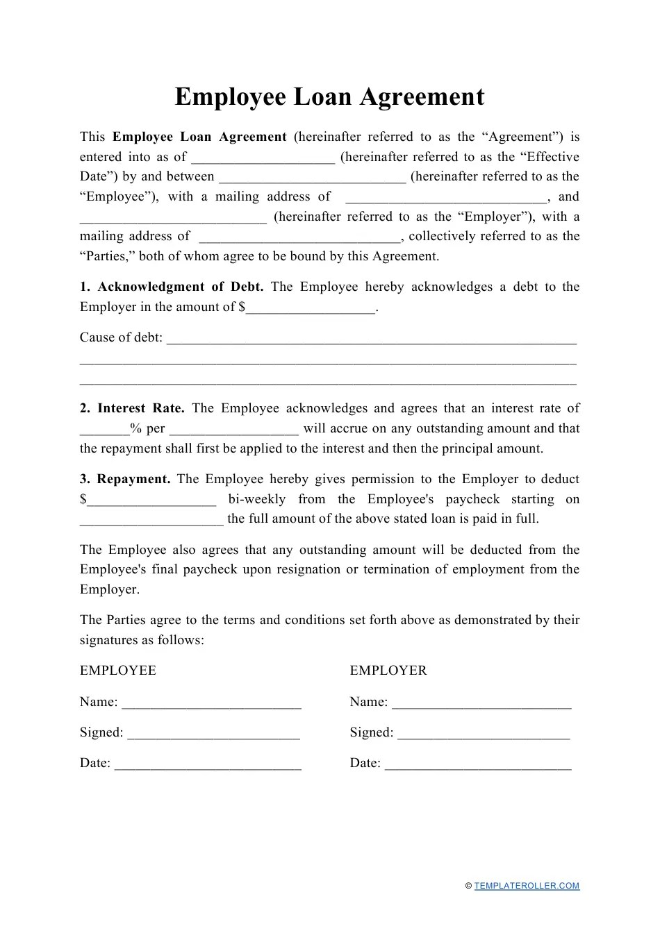 Follow by entering the name and address of the borrower and next the lender. Employee Loan Agreement Template Download Printable Pdf Templateroller