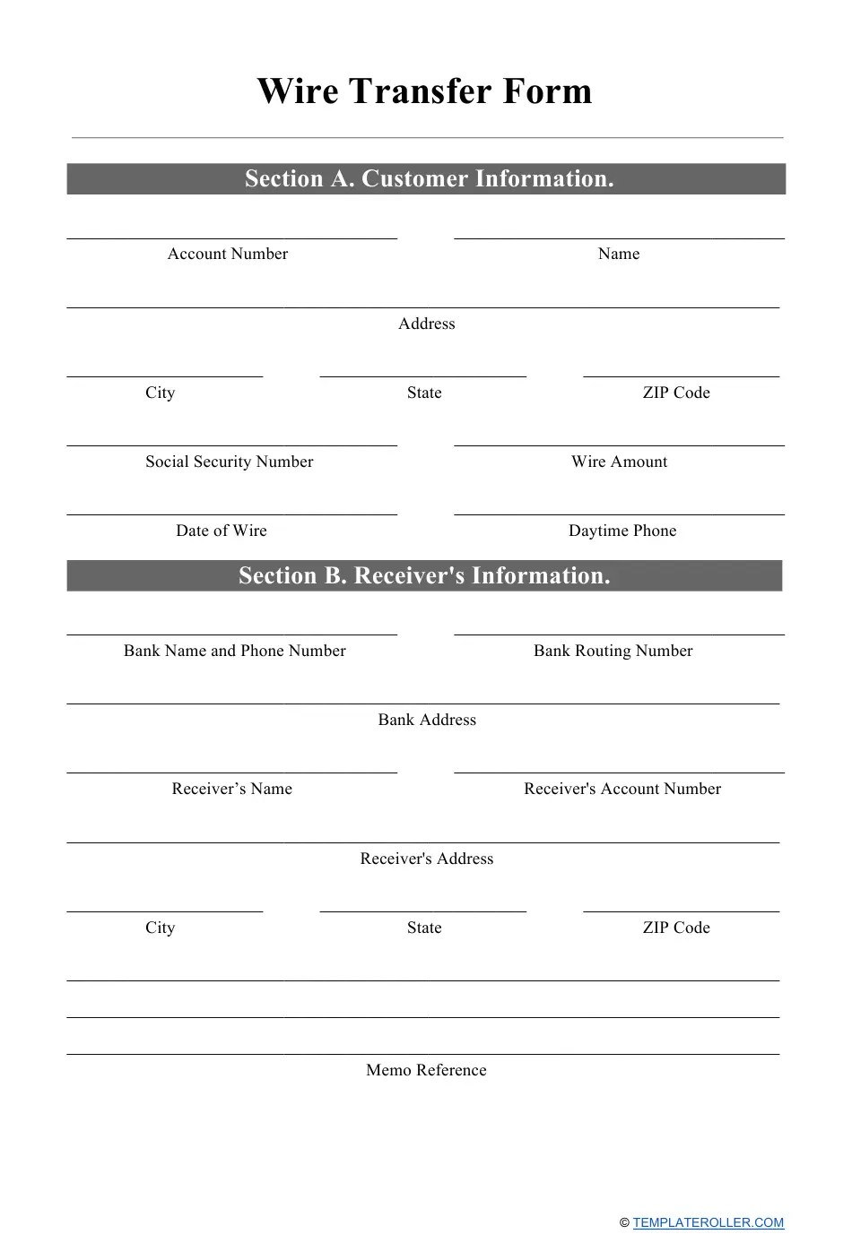 This form is used for automated clearing house (ach) payments. Wire Transfer Form Download Printable Pdf Templateroller