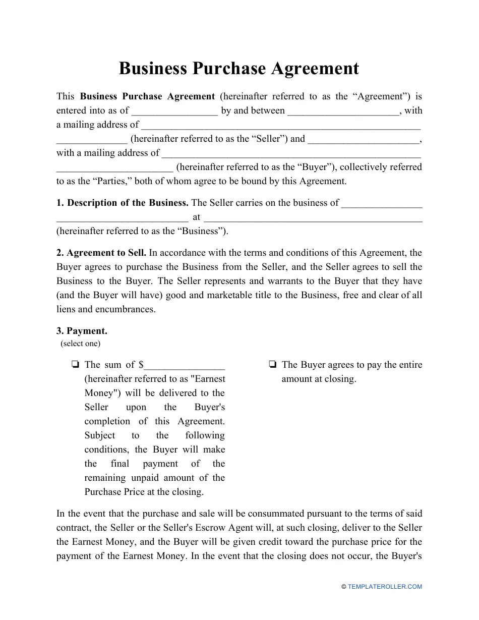 Drafting a business purchase agreement parties involved. Business Purchase Agreement Template Download Printable Pdf Templateroller