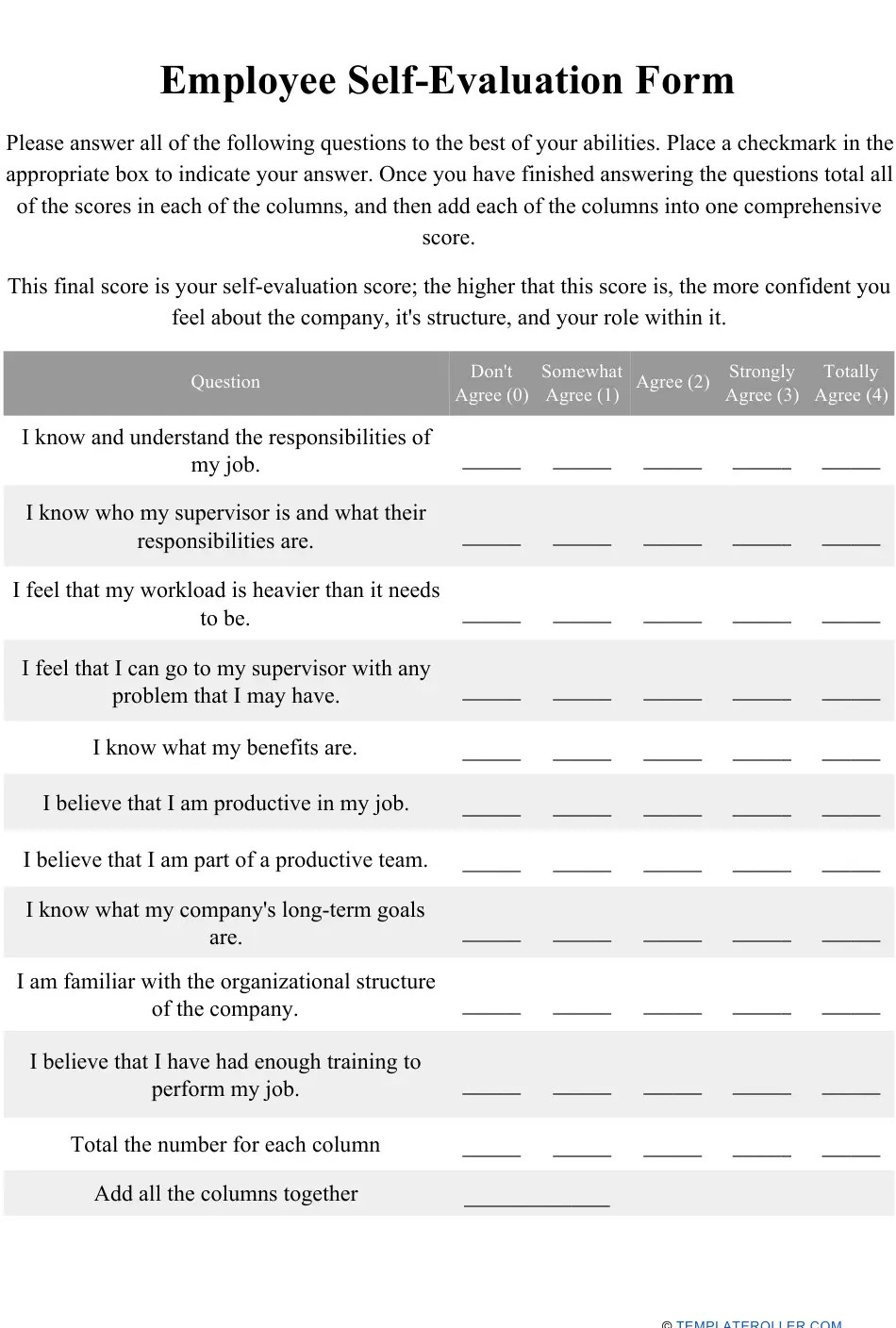 The template is short, but be warned: Employee Self Evaluation Form Download Printable Pdf Templateroller