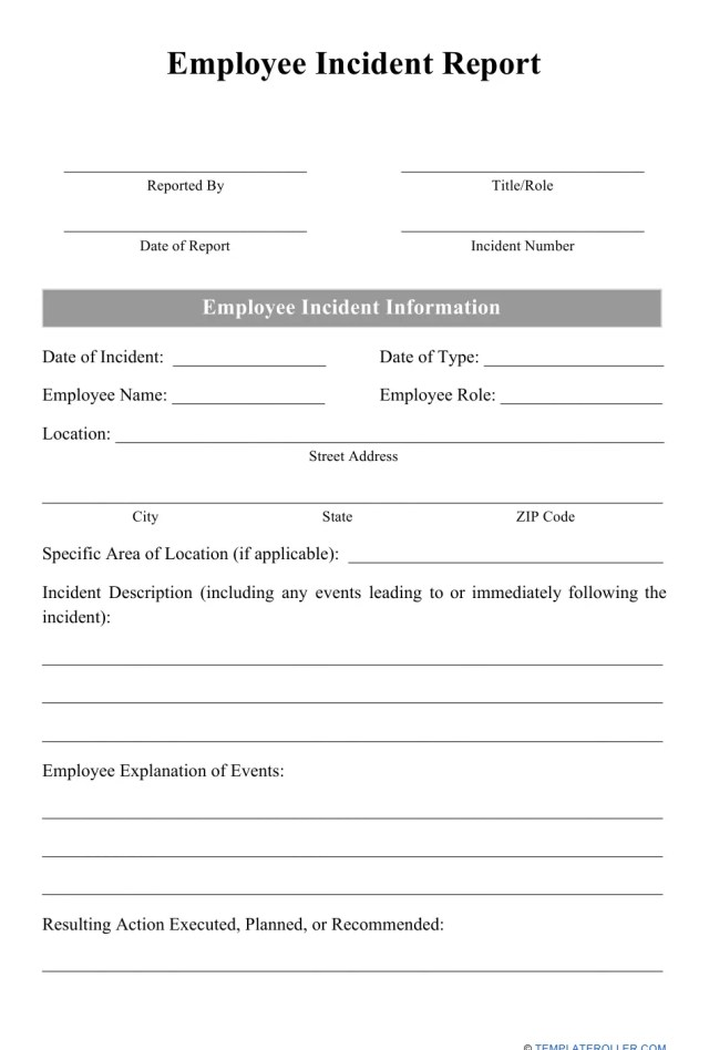 Employee Incident Report Form Download Printable PDF  Templateroller