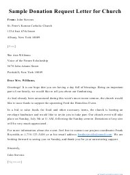 A letter of intent to donate is a formal declaration of one's desire to submit a donation to an organization or business. Sample Donation Request Letter For Church Download Printable Pdf Templateroller