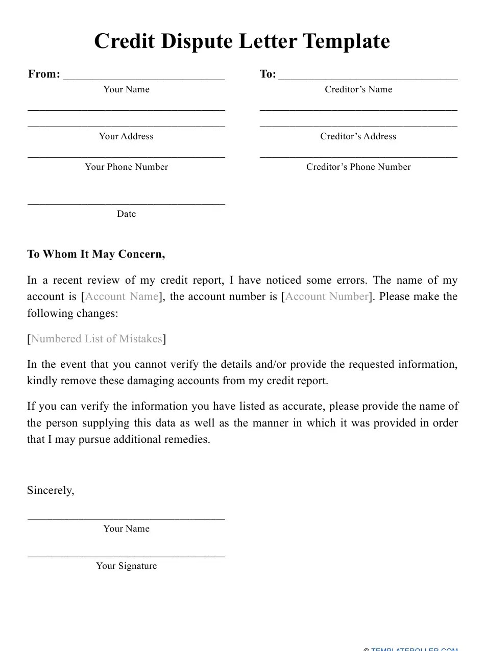 In most cases, no one can see your credit report without your cons. Credit Dispute Letter Template Download Printable Pdf Templateroller
