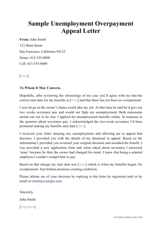 Sample Unemployment Overpayment Appeal Letter Download Printable