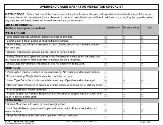 Emergency eyewash or shower incorrect. Oc Alc Form 105 Download Fillable Pdf Or Fill Online Overhead Crane Operator Inspection Checklist Templateroller
