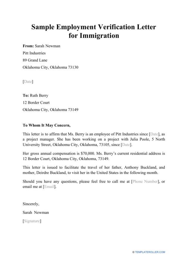 Sample Employment Verification Letter for Immigration Download