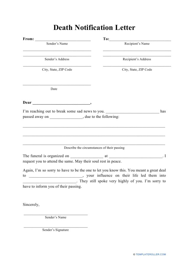 Death Notification Letter Template Download Printable PDF
