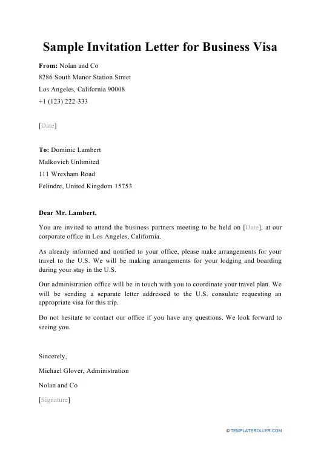 sample invitation letter for business