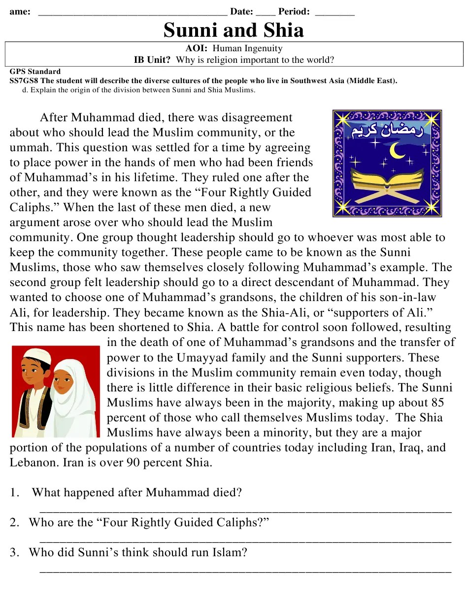medium resolution of Georgia (United States) Gps Sunni and Shia Reading Comprehension Worksheet  - 7th Grade Download Printable PDF   Templateroller