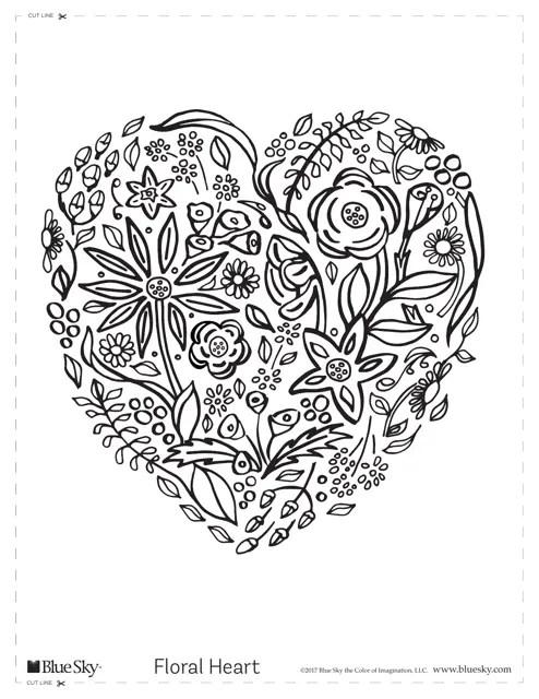 Floral Heart Coloring Sheet Download Printable PDF