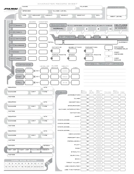 Star Wars Character Record Sheet Download Printable PDF