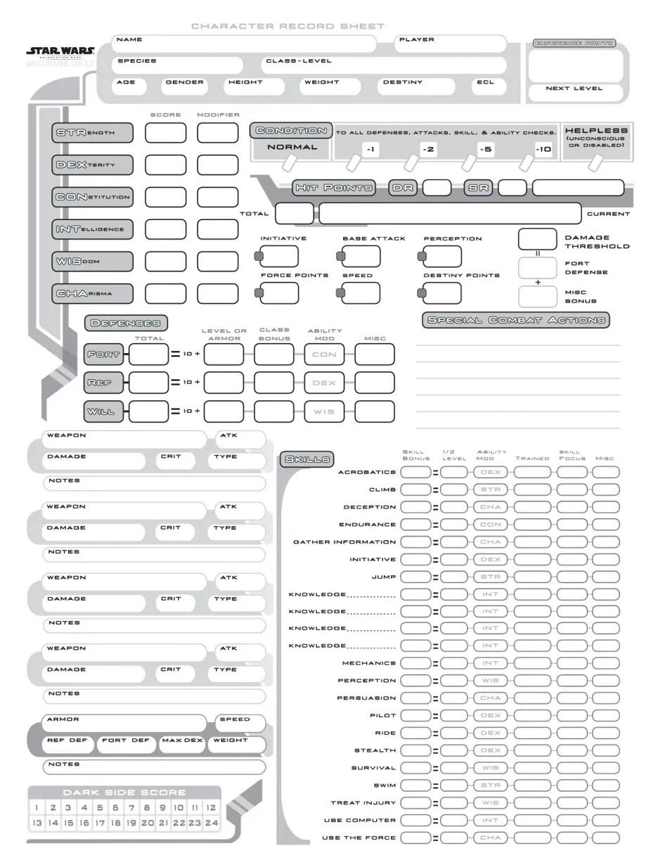 Star Wars Character Record Sheet Download Printable PDF