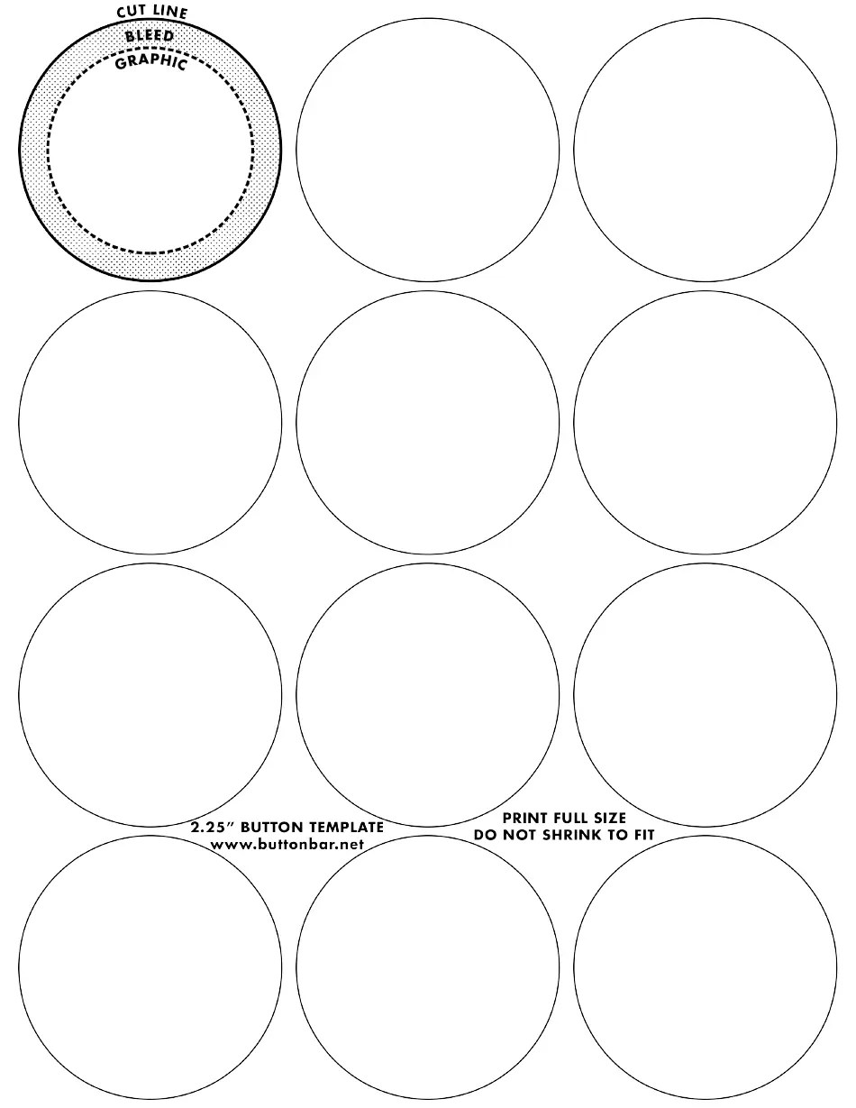 2.25 Inch Button Templates Download Printable PDF