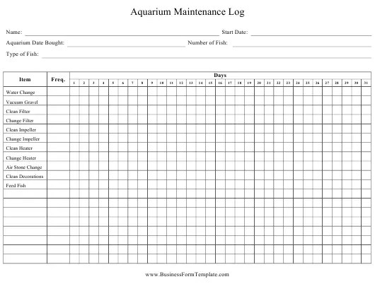 Daily Aquarium Maintenance Log Sheet Download Printable