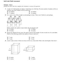 Math Assessment Worksheet - 2nd Grade Download Printable PDF    Templateroller [ 1260 x 950 Pixel ]