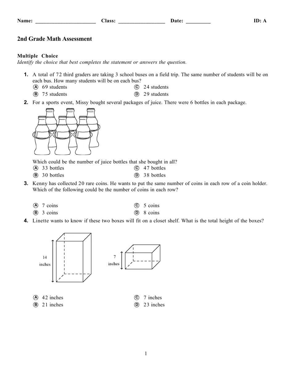 medium resolution of Math Assessment Worksheet - 2nd Grade Download Printable PDF    Templateroller