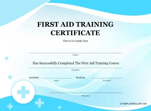 First Aid Training Certificate Template Download Printable