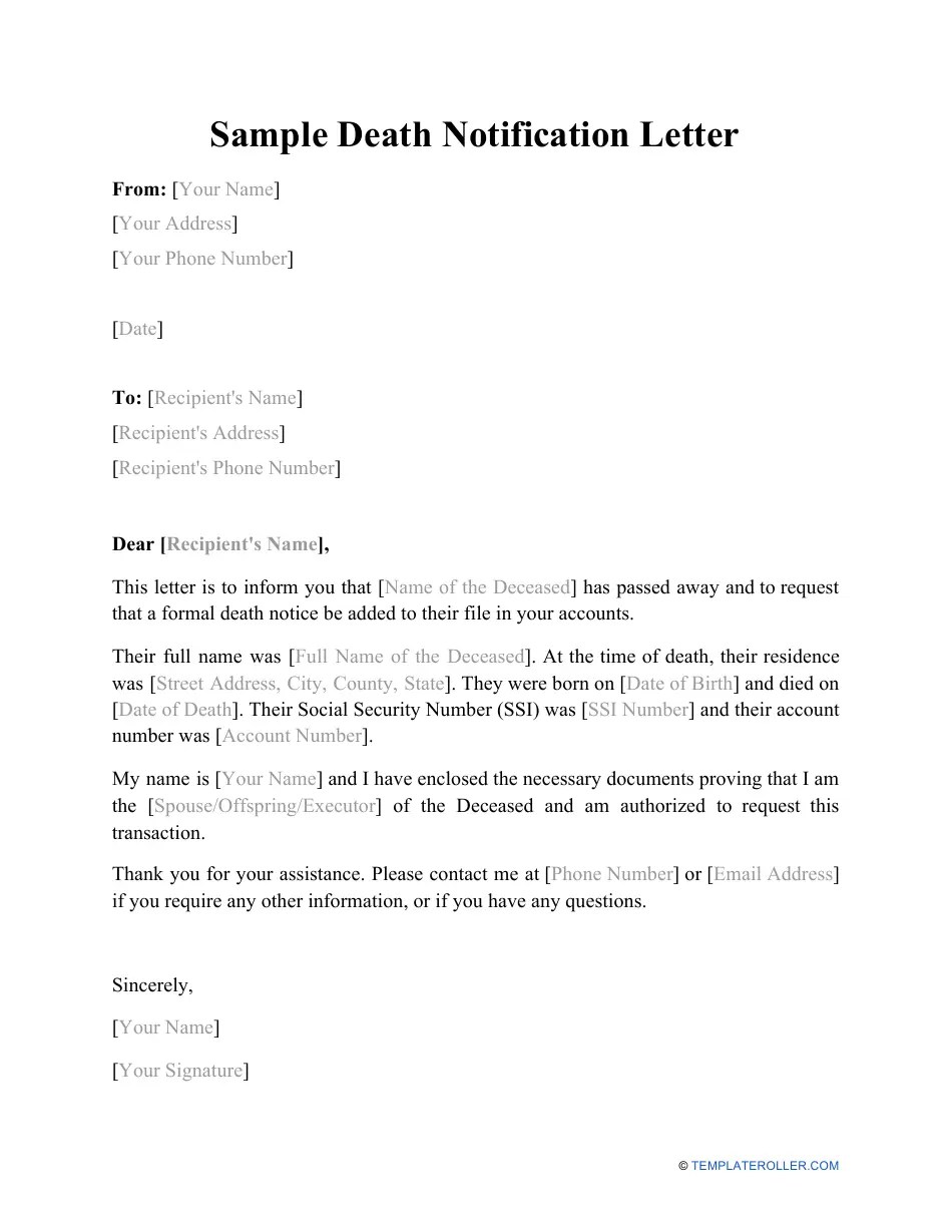 Bank Account Closing Letter Format After Death - 68