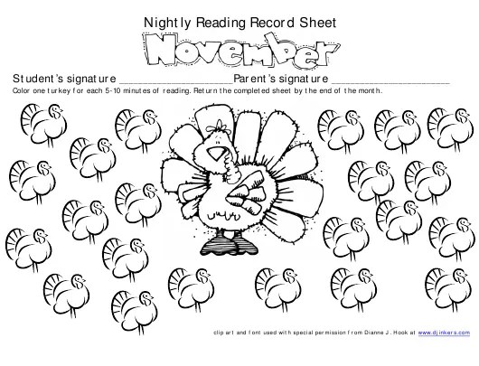 November Nightly Reading Record Sheet for Students