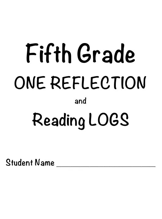 5th Grade One Reflection and Reading Log Templates