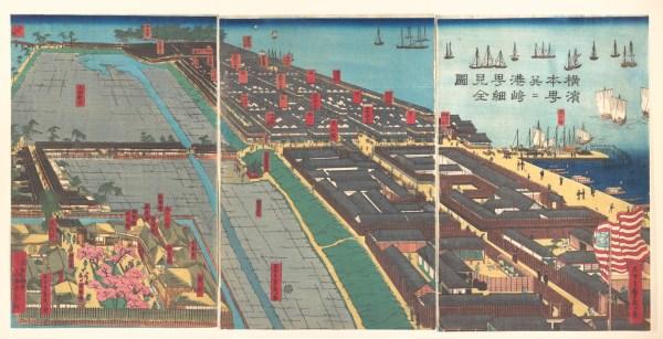 Utagawa Sadahide Detailed Print Of Yokohama Hon-ch And Miyozaki Pleasure Quarter