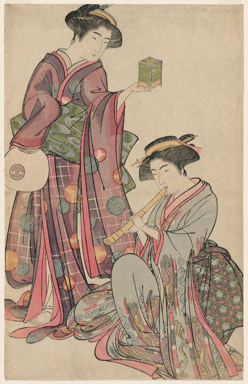 Two Women Feeding Fish by Kitao Shigemasa