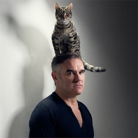 Morrissey with a cat on his head
