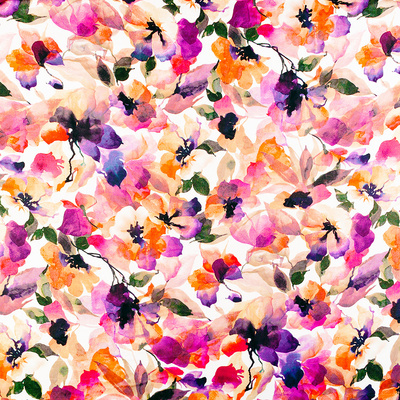 Chic Floral Pattern Pink Orange Pastel Watercolor By Amber