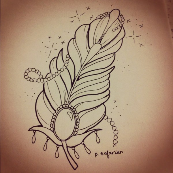 Girly girl feather Tattoo Art Drawings  We Heart It
