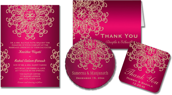 Wedding Cards And Gifts Hot Pink Gold Indian Style Invitation