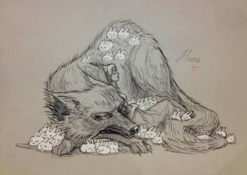 wolf chiara bautista bunny drawings drawing rabbit tattoo story fox pigs lobos anime wolves illustration artwork milk rabbits cute weheartit