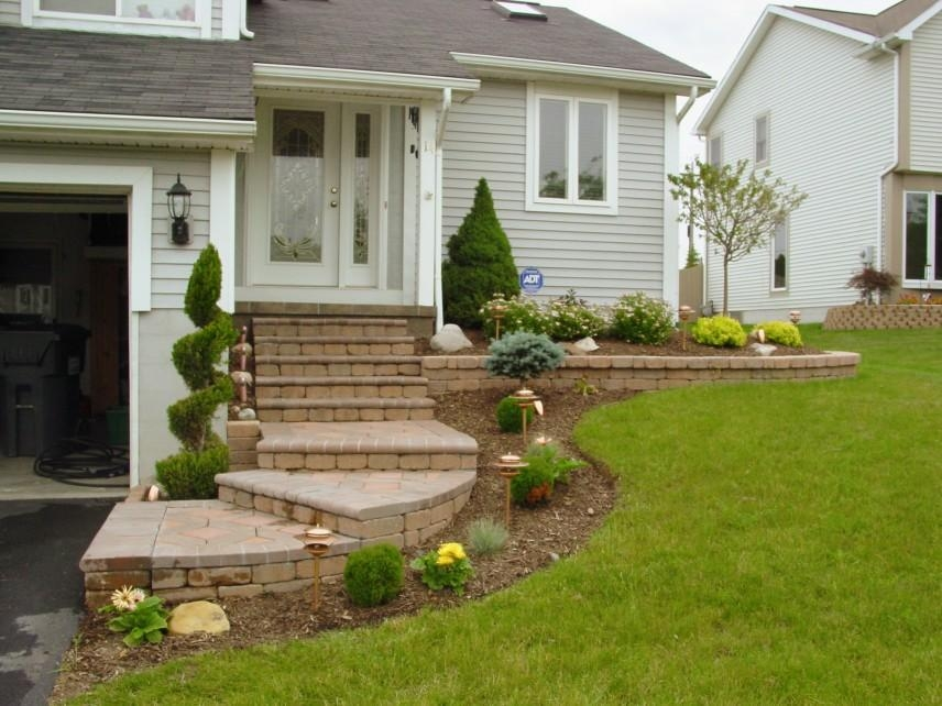 Landscaping The White And Big House With The Long And Beautiful | Front Porch Steps Designs | Porch Style | Beautiful Front | Front Entry Brick Stair | Outside | Outdoor Step