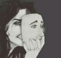 """Image result for girl wearing many faces illustration"""""""