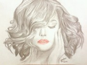 girl with short hair drawing