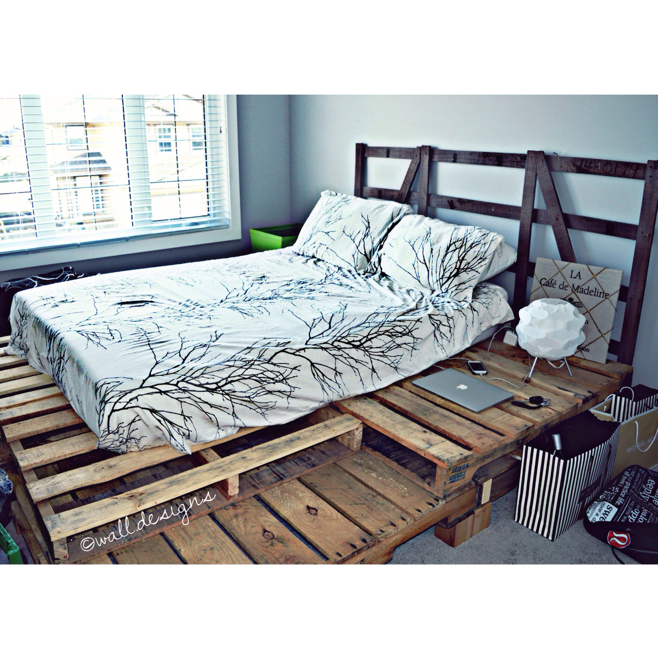 Modern Rustic Pallet Bed By Wall Designs On We Heart It