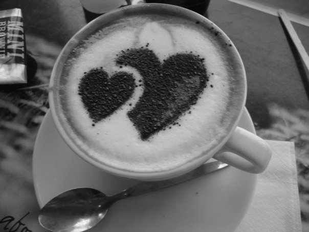 black and white coffee
