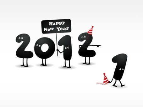 happy new year year's new beginnings resolutions end of 2011 bye goodbye hello calendar