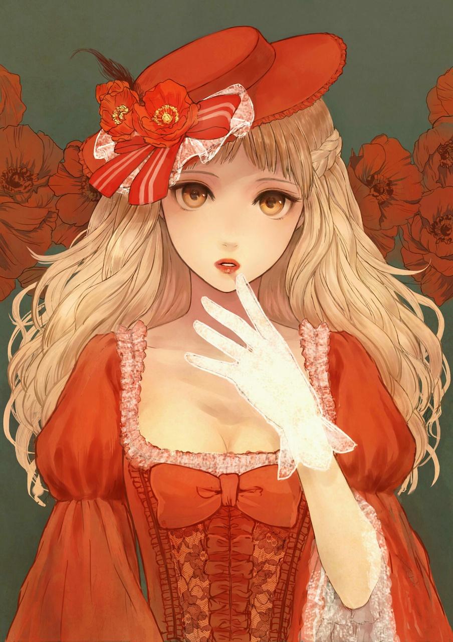Anime Girl In Red Dress : anime, dress, Brown, Dress, Gloves, Anime