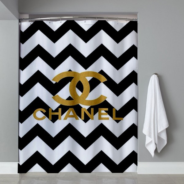 chevrond coco chanel shower curtain on