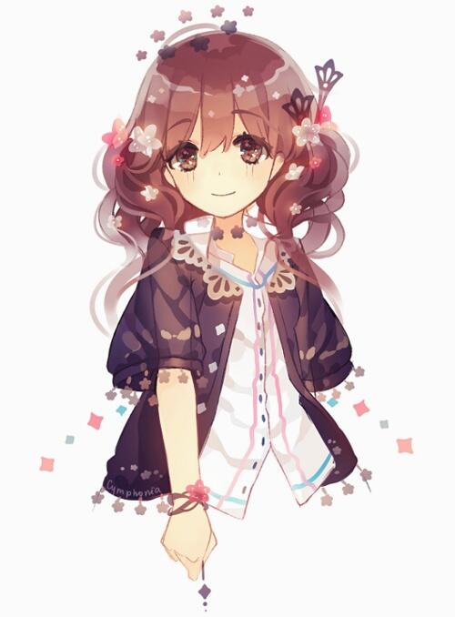 Anime Girl Brown Hair Brown Eyes : anime, brown, Brown, Black, Cardigan, Anime