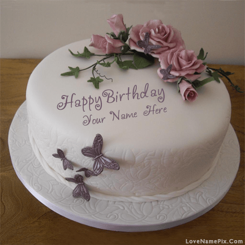 Butterfly Roses Birthday Cake Name Generator On We Heart It