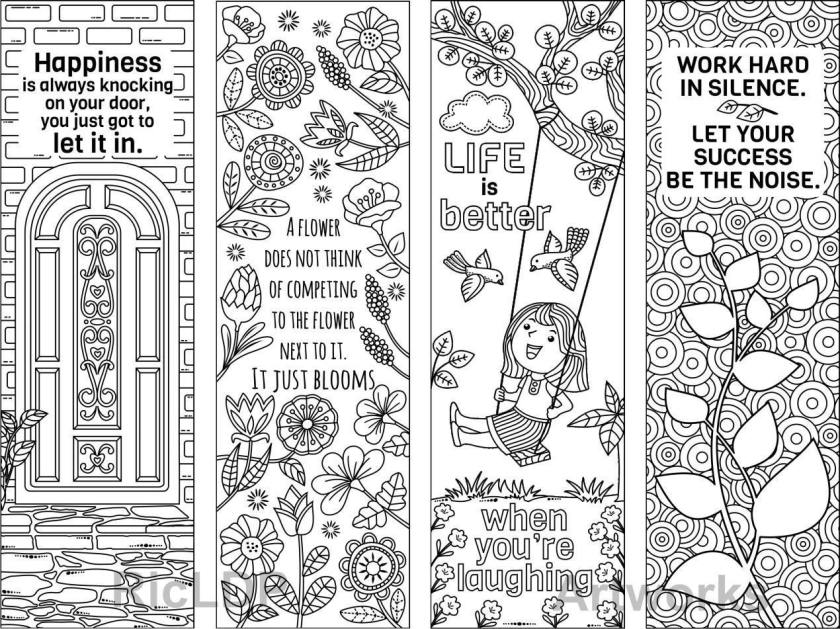 8 coloring bookmarks  feel good quotes; printable